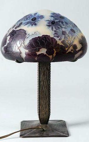 Art Nouveau - Lampe 'Clématites' - Pâte de Verre - Emile Gallé - 1902