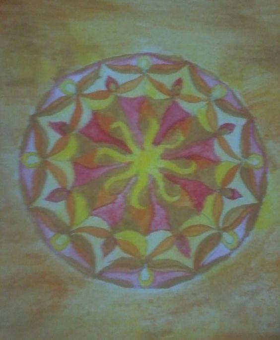 mandala do sol ,pintada em aquarela