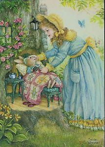 HOLLY POND HILL~Susan Wheeler ~ Bunny ~ Rabbit~Girl Greeting Card  1990's