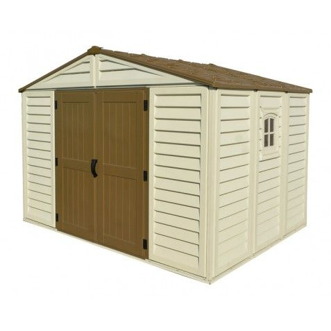 Duramax 10x13 Woodbridge Plus Vinyl Shed Kit W Foundation 40234 The 10 X 13 Woodbridge Plus Is Our Vinyl Sheds Vinyl Storage Sheds Outdoor Storage Sheds