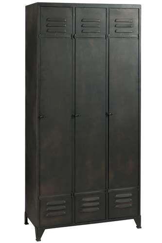 Armoire Atelier 3 Portes Loft Metal Noir Armoire Atelier Mobilier De Salon Meubles Loft