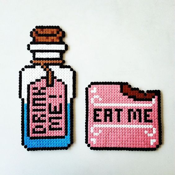 Drink Me and Eat Me - Alice in Wonderland perler beads by perlerbeads_art