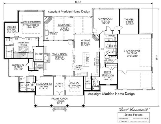 House plans home design and theater on pinterest for Acadian french country house plans