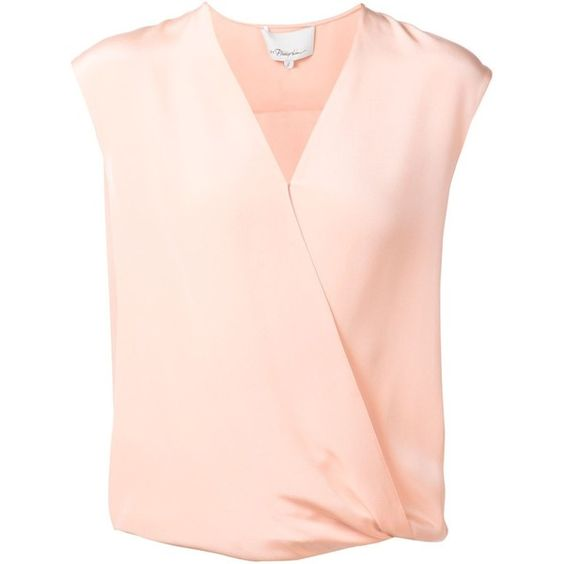 3.1 Phillip Lim draped tucked top (£95) ❤ liked on Polyvore featuring tops, pink tank, sleeveless tops, silk tank top, pink sleeveless top and loose fit tank tops