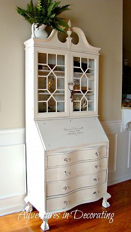 Antique Secretary Makeover I have one in wood that is for sale as going French in the house now but this looks great. I could not paint my wood?