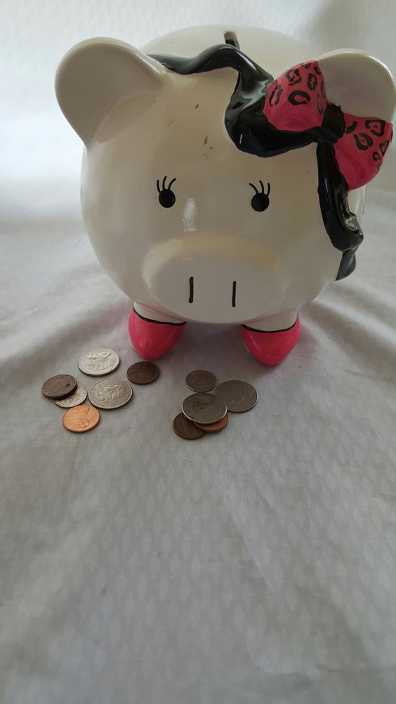 Vintage Pig Piggy Bank Shopping Fund Hot Pink Black and White Large Piggy Bank Gift for Shopper Shopping Gift for her
