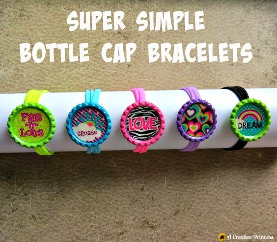 A creative princess super simple bottle cap bracelets a for Creative ideas with bottle caps
