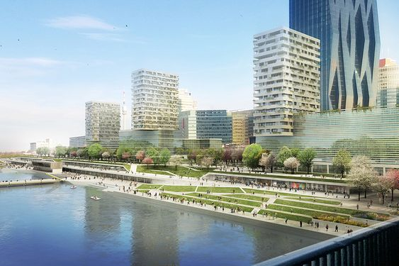 This collaborative design for Vienna's waterfront region offers some clever solutions for combating the difficult climatic conditions of the area.