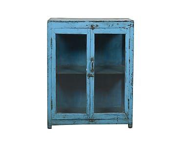 Vaisselier DENA teck, bleu ciel - H90