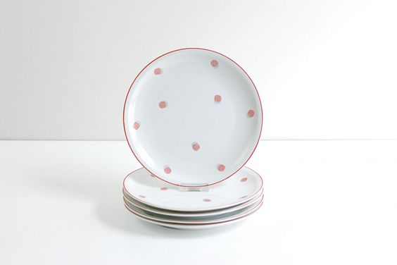 Vintage Red and White Polka Dot Porcelain Plates by Schirnding Bavaria circa 1940s