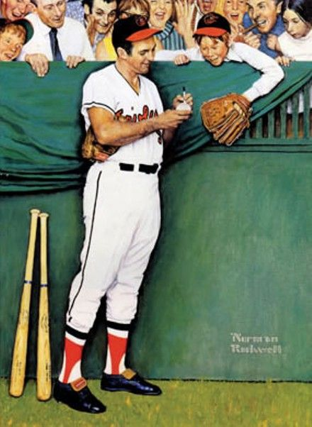 "illustration US : Norman Rockwell, ""Gee, Thanks, Brooks!"", 1971, baseball"