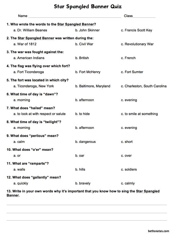 Star Spangled Banner - Beth's Notes