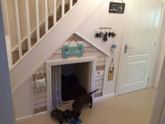 Dog house under stairs - love it!