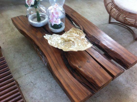 Mesa de centro tronco ra zes madeira da for Mesa de tronco