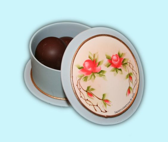 Beautiful Sugar Box, hand painted fill out with chocolate truffles.