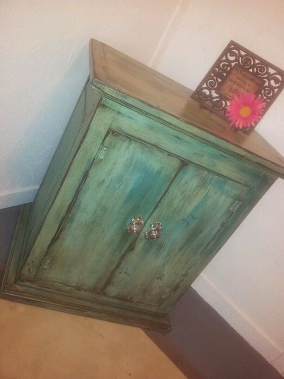 Distressed Turquoise cabinet.  KRAZY'S KREATIONS
