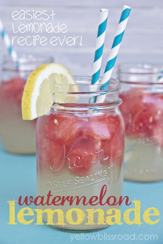 Refreshing Watermelon Lemonade and the Easiest Lemonade Recipe EVER!: Yellow Bliss, Watermelon Lemonade, Lemonade Recipes, Watermelon Cubes, Refreshing Watermelon, Food Drinks, Easiest Lemonade