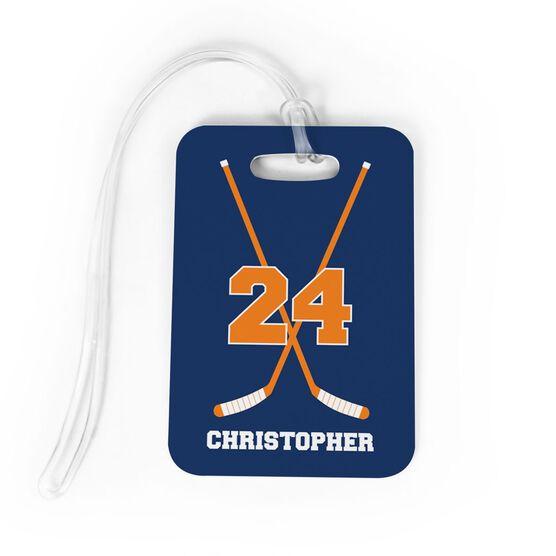 Hockey Bag Luggage Tag Personalized Hockey Crossed Sticks Chalktalksports In 2020 Hockey Bag Luggage Tags Bags