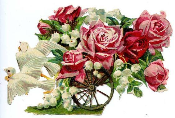 DECOUPI ANCIEN COLOMBES TIRANT UN CHARIOT DE FLEURS - ROSES, MUGUET fr.picclick.com