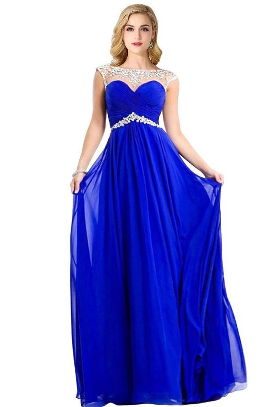 Real Photo Cap Sleeves Crystal Chiffon Long Blue Prom Dresses 2016 Yellow Red White Evening Party Dr on Luulla