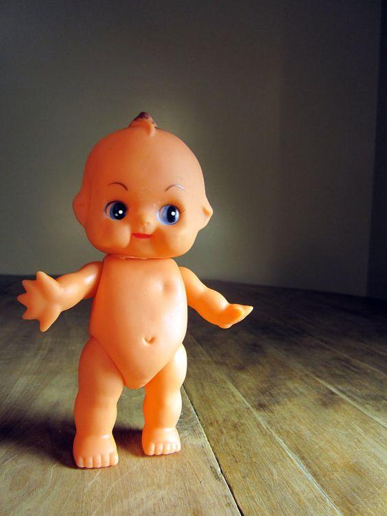 PeeWee  Vintage Cute Plastic Kewpie Doll Made in Japan by dproject - CUTE BUT the real Kewpies have blue wings.
