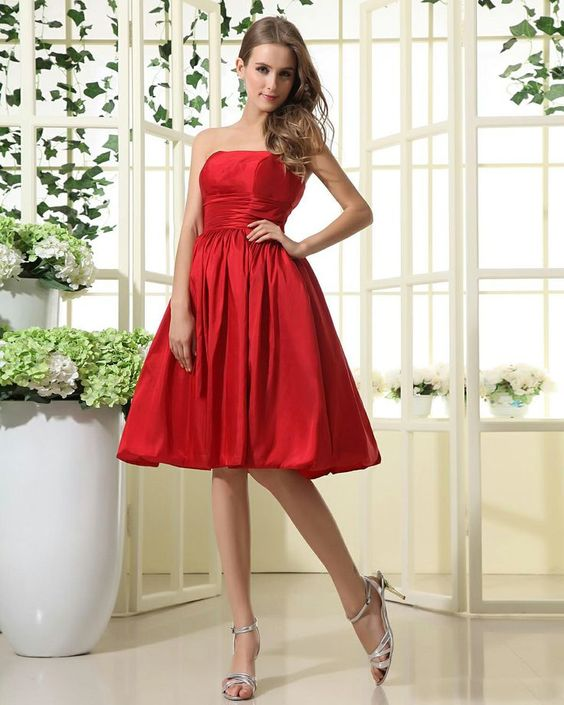 Strapless Taffeta Knee Length Bridesmaid Dress - My wedding ideas