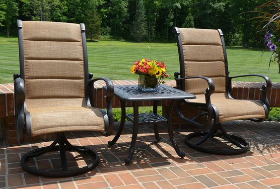 The Leda Collection 2 Person Cast Aluminum Patio Furniture High Back Padded  Sling Chat Set | Patio Furniture | Pinterest | Cast Aluminum Patio Furniture  And ...