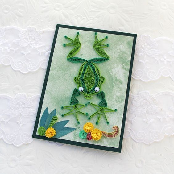 Frog Card Paper Quilled Frog Paper Quilled by EnchantedQuilling