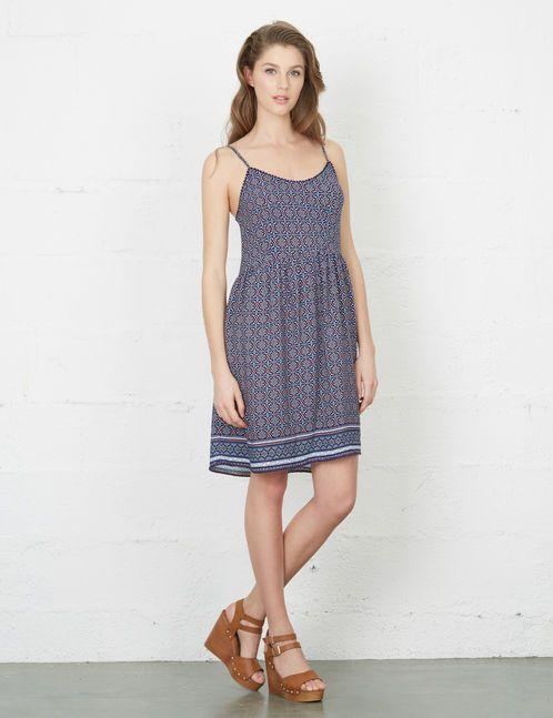 robe imprimé géométrique bleu marine