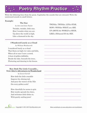 math worksheet : poetry rhythm  worksheets poetry and syllable : Elements Of Poetry Worksheet 3rd Grade
