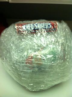 Great youth group activity - wrap inexpensive surprises into a shrink-wrap ball. Race to look up a Bible verse, first to look it up gets to try to unwrap a goodie while the group races to look up another  Bible passage.