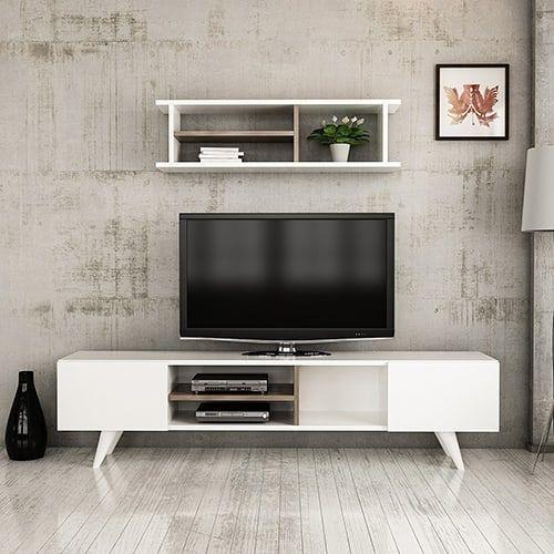طاولة تلفاز موديل نيو دور صناعة خشبية لون أبيض مصنوعة من خشب Mdf Tv Room Design Living Room Decor Apartment Kitchen Room Design
