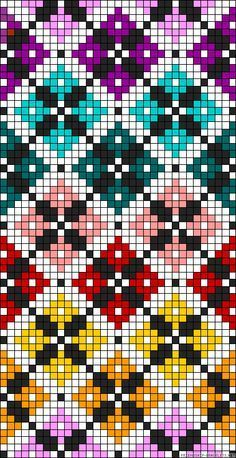 Diamonds plaid rainbow perler bead pattern Would make a great cross stitch pattern
