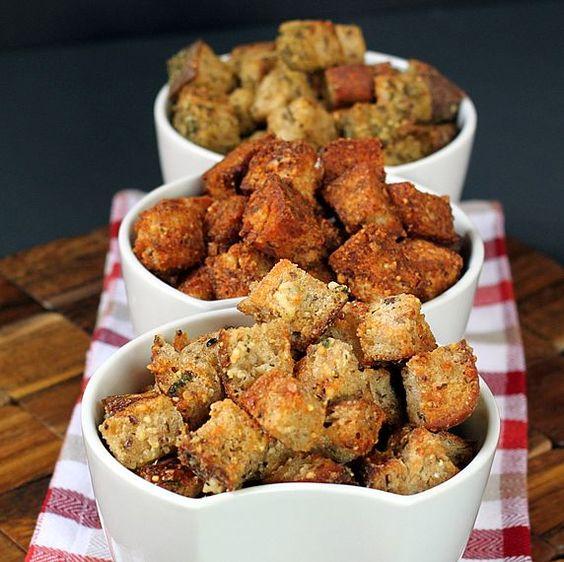 Healthy whole grain croutons. 3 crunchy flavors: garlic parmesan, fiesta, & pesto