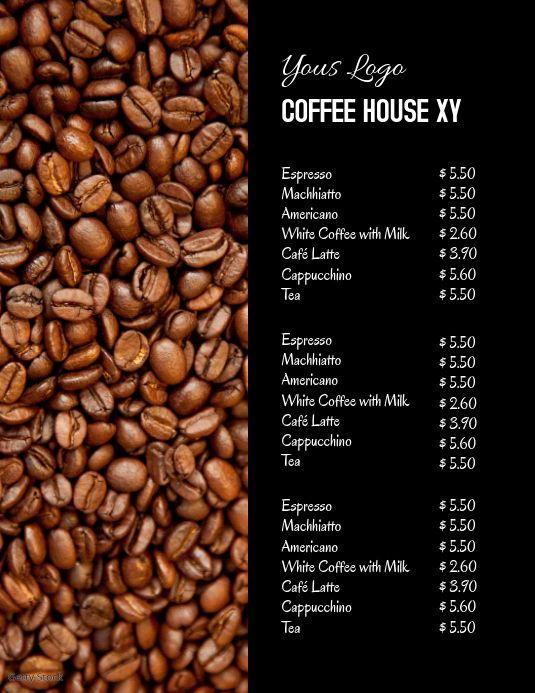 Coffee Bar House Price List Offer Drinks Ad Price List Template Coffee Menu Coffee Prices