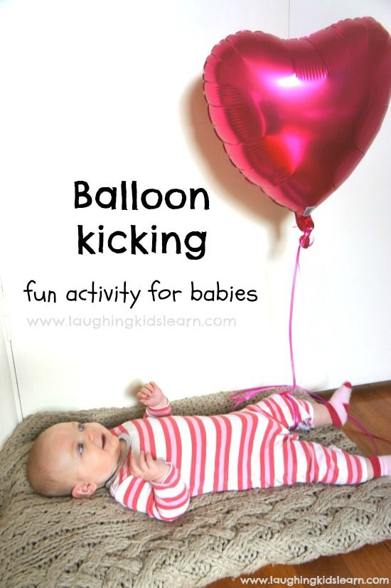 Simple baby play activity using a helium balloon. The kicking motion is great for developing gross motor skills, cause and effect and concentration. This is lots of fun for babies.