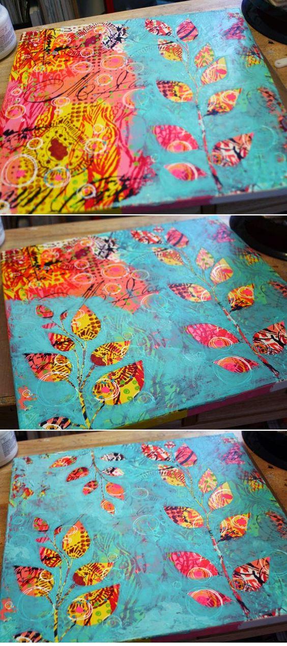 Mixed Media Canvas using StencilGirl stencils and Molding Paste techniques by Gwen Lafleur.