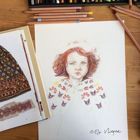 My World Textiles book is an absolute gem. #workinprogress #colorpencil #carandache #luminance #elsvlieger #portrait #redhead #girl #art #drawing #draweveryday #instaart #art #pattern #folkart #inspiration #workinprogress #wip: