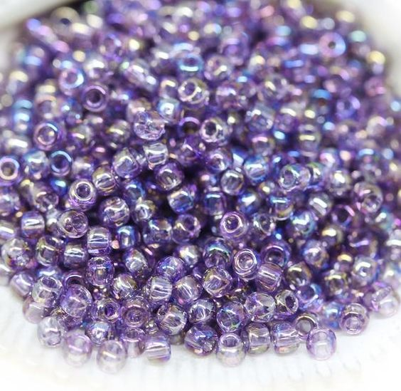 110 Transparent Rainbow Frosted Ruby Japanese Seed Beads 6 Inch Tube 28 grams #F254A