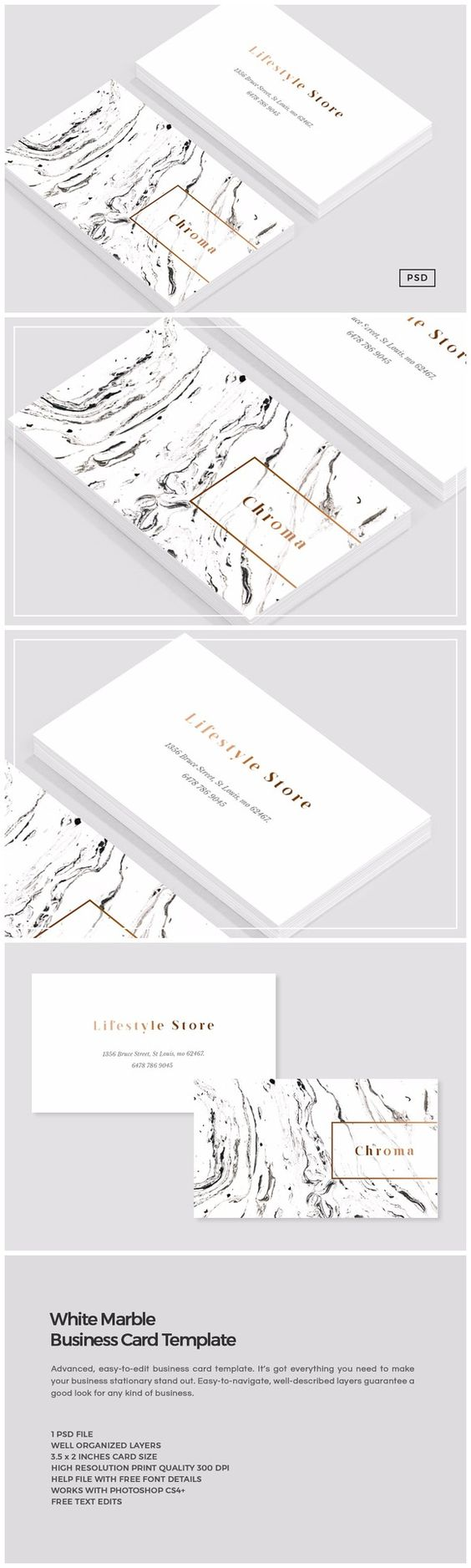 White Marble + Copper Business Card https://creativemarket.com/MeeraG/808246-White-Marble-Copper-Business-Card #design #art #graphicdesign