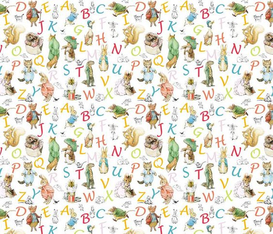 Beatrix potter wallpaper alphabet wallpaper and decals for Beatrix potter mural wallpaper