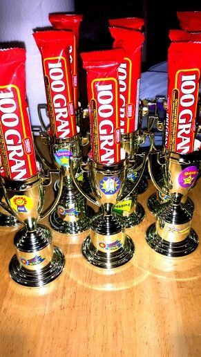 Trophies bought at party city, stickers and candy at ...