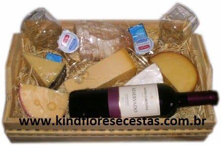 CESTAS DE QUEIJOS E VINHOS- (11)2361-5884- Kind Flores e Cestas: Entrega de cestas de queijos e vinho na Raposo Tav...