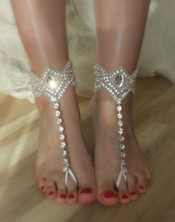 SANDALS // Rhinestone  Beach wedding barefoot ,anklet,  free ship Barefoot Sandals, Sexy, Yoga, Anklet , Bellydance, Steampunk, Beach Pool: