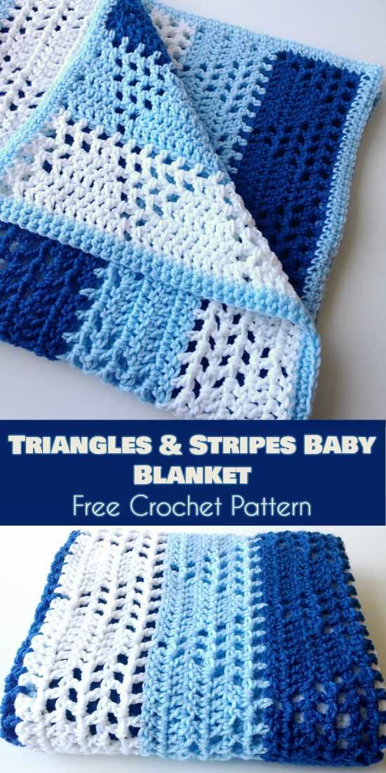 Triangles And Stripes Baby Blanket Free Pattern Crochet Blanket Patterns Crochet Baby Blanket Beginner Crochet For Beginners Blanket