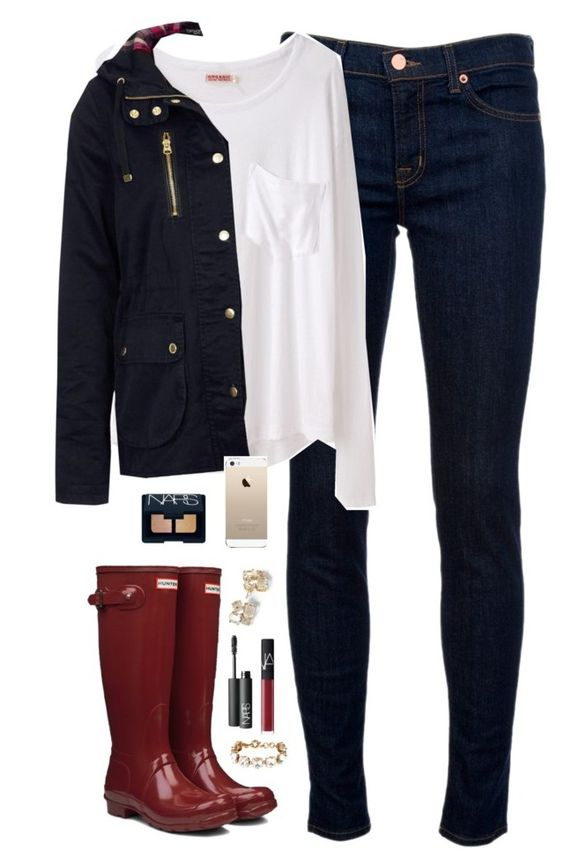 """""""day off school"""" by classically-preppy ❤ liked on Polyvore featuring J Brand, Organic by John Patrick, Topshop, Hunter, Kate Spade, NARS Cosmetics, J.Crew, women's clothing, women's fashion and women"""