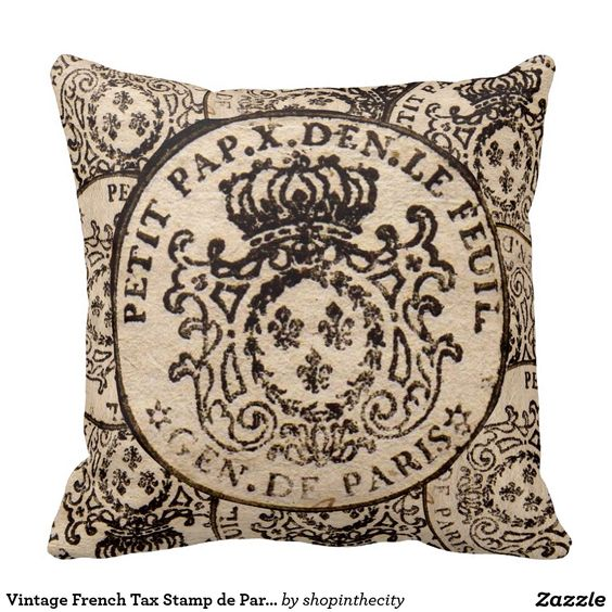 Vintage French Tax Stamp De Paris Throw Pillow Zazzle Com Paris Throw Pillow Throw Pillows French Vintage
