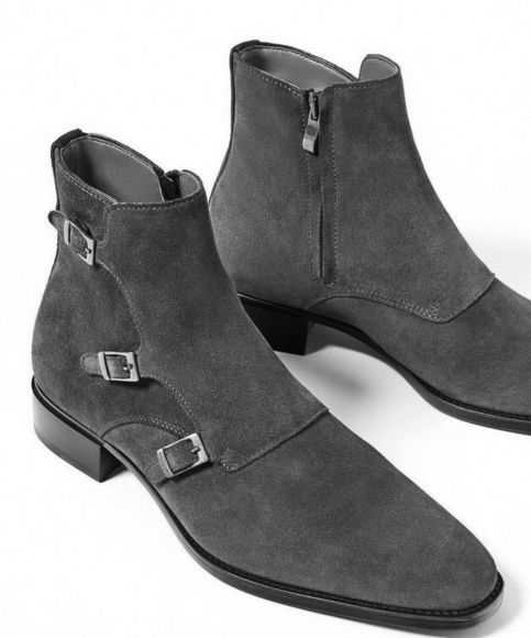 Customize Triple Monk Strap With Zipper High Ankle Suede