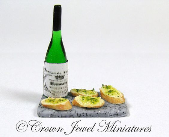 Herbed Garlic Bread Wine on Gray Board