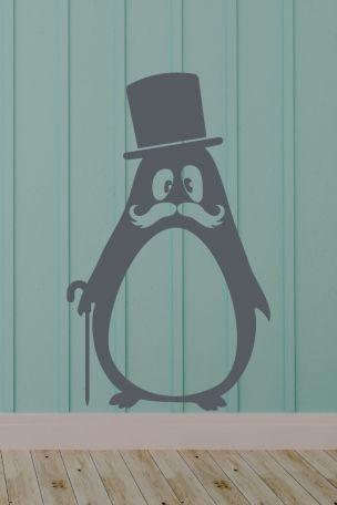 #Wandtattoo #Pinguin mit #Zylinder